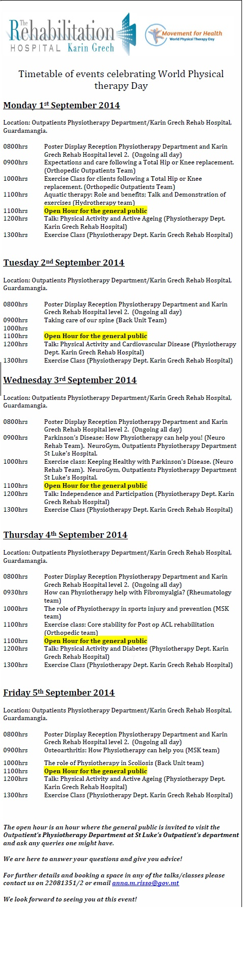 World Physiotherapy Day Timetable
