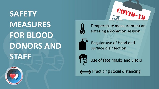 Safety measures for donors and staff